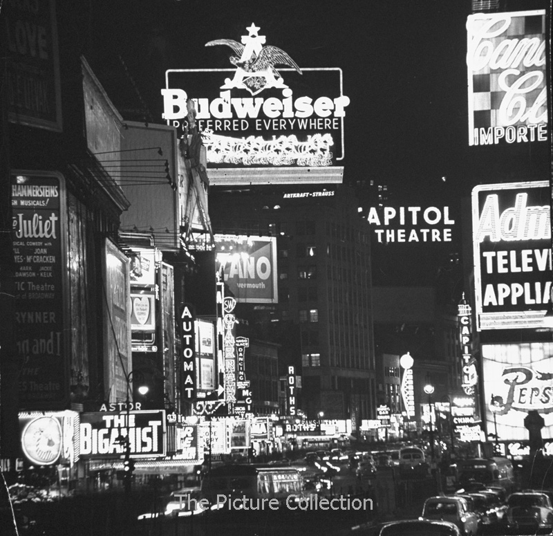 5503879 Andreas Feininger (Night view of taxi and traffic congestion looking North on 45th St